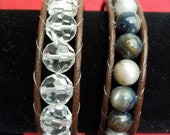 Natural Stone and Crystal Beaded Wrap Bracelet