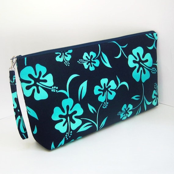 Large Zippered Project Bag BLUE HIBISCUS