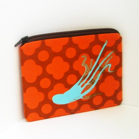 Small Zipper Pouch GIANT OCTOPI in Orange