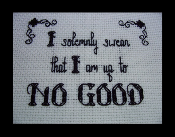 PDF Cross Stitch Pattern Up To No Good Harry Potter Quote