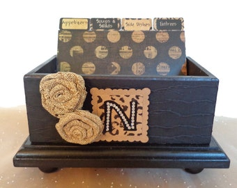 Recipe Box Personalized Open Wood Burlap & Kraft Paper