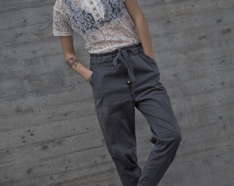 BLACK Light stone washed denim cotton baggy pants with tying