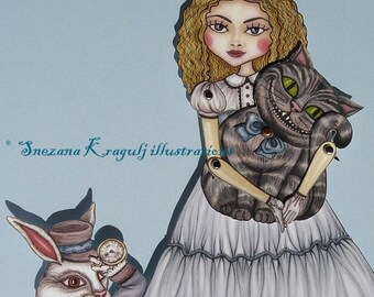 Alice in Wonderland Articulated Paper Doll (already  cut and assembled) - White Rabbit and Cheshire Cat