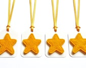 Golden Yellow Felt Star Gift Tags / Name Tags with Yellow Satin Ribbon Ties (Set of 6)