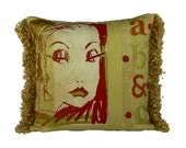 STUDIO CLEARANCE SALE ***  ooak Luscious   Gold no 3 screen print and leather 20x20 decorative pillow
