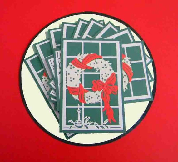 20 Christmas Stickers. Gold Glitter Wreath, Red Ribbon, White Candle and Holly. Upcycled. 5019