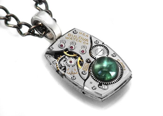 Steampunk Necklace, Moss Agate & Vintage Watch Movement - Long Chain Necklace