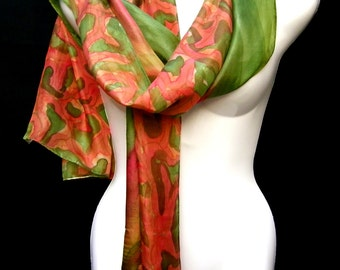 Hand Painted Silk Scarf,  Military Camouflage Scarf, Olive Green Rusty Brown, Handpainted Silk Scarf