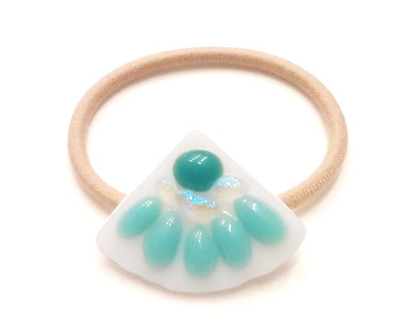 Turquoise & White Fan Shaped Ponytail Holder, Fused Glass