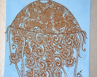 Jellyfish Painting with Henna Design, Mixed Media Piece, Jellyfish Swirls, Unique, OOAK, Global Art, Gallery wrapped and ready to Hang