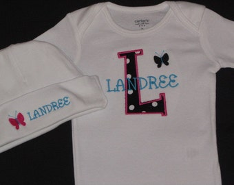 Personalized Baby Girl Gift Set Onesie or Gown with hat Butterfly