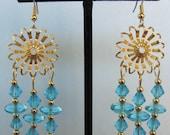 Turquoise Glass Bead Flower Chandelier Earrings