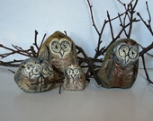 Owl Family Hand Painted Rocks