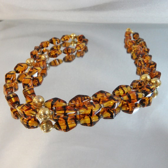 Vintage Glass Necklace. Amber Glass. Tortoiseshell Glass.