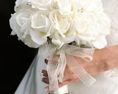 Bridal Bouquet White Roses Real Touch Silk Wedding Flowers Sparkly Crystals Rhinestones Bling - GRAND Bridal Size