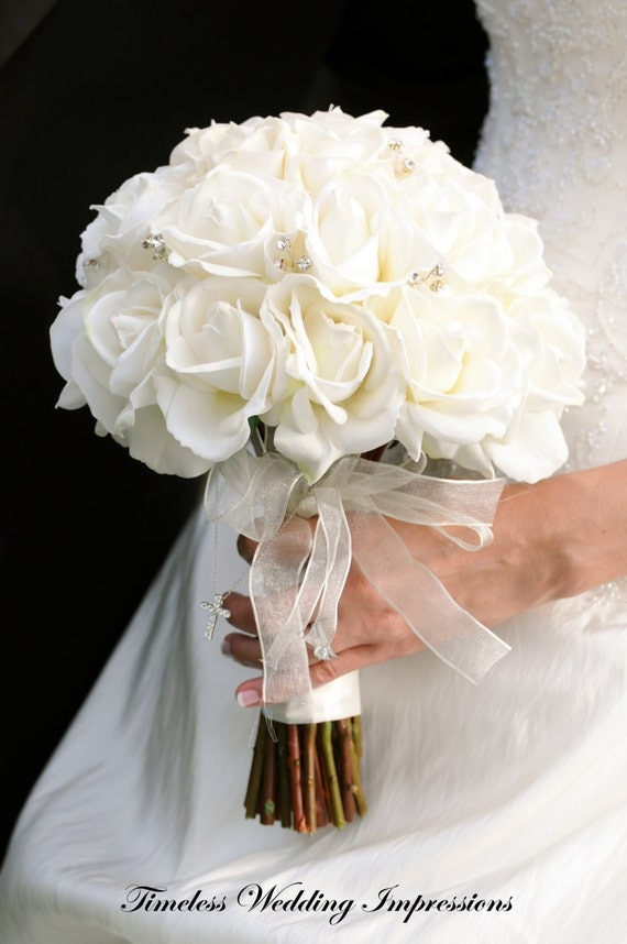 Items similar to Bridal Bouquet White Roses Real Touch Silk Wedding ...