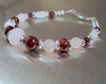Rose Quartz and Garnet Bracelet with Sterling Silver