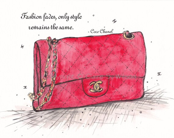 The Red Chanel Bag - Art Print 5x7 with Coco Chanel Quote