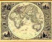 antique illustrated map australia 1860 lithograph digital download
