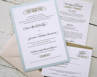 Baroque Wedding Invitations - Vintage Glamour Gold Border Elegant Pink Blue Ribbon.  Purchase this listing for a Sample.