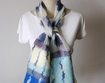NUNO scarf - felted scarf- water flowers