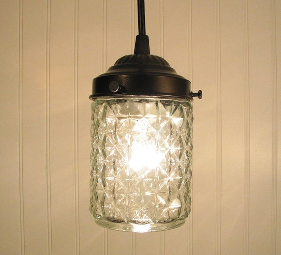Jellystone. Clear Vintage PORCH Light made PENDANT New