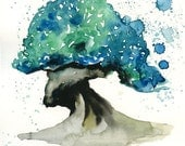 Bonsai Landscape painting-Watercolor-Archival Print from my original watercolor painting 8x10 inch