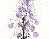 Purple rain- Landscape painting-Watercolor-Archival Print from my original watercolor painting 8x10 inch