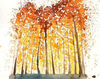 Autumn Forest -Landscape painting-Watercolor-Orange autumnal forest-Archival  Print from my original watercolor painting 5x7 inch