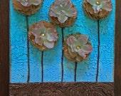Shabby Chic Flowers Original Mixed Media Art