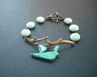 bare branch  turquoise bird bracelet