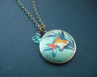 SALE - gold fish altered photo locket necklace version 1 - only one avaialble