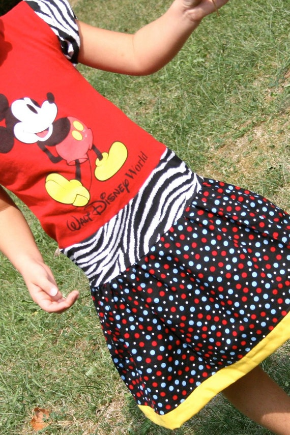 SALE Disney Mickey Mouse Upcycled Tshirt Dress, size 6 7 8, Ready to Ship
