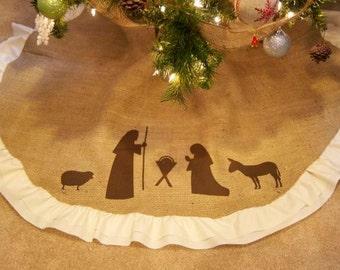 Christmas Tree Skirt, Burlap Tree Skirt, Nativity Scene, manger decor, mini table top tree skirt, personalized gifts, shabby chic style