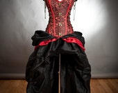 Private listing for Ally RUSH ORDER Custom Size Black and Red Steampunk Burlesque corset with train prom dress