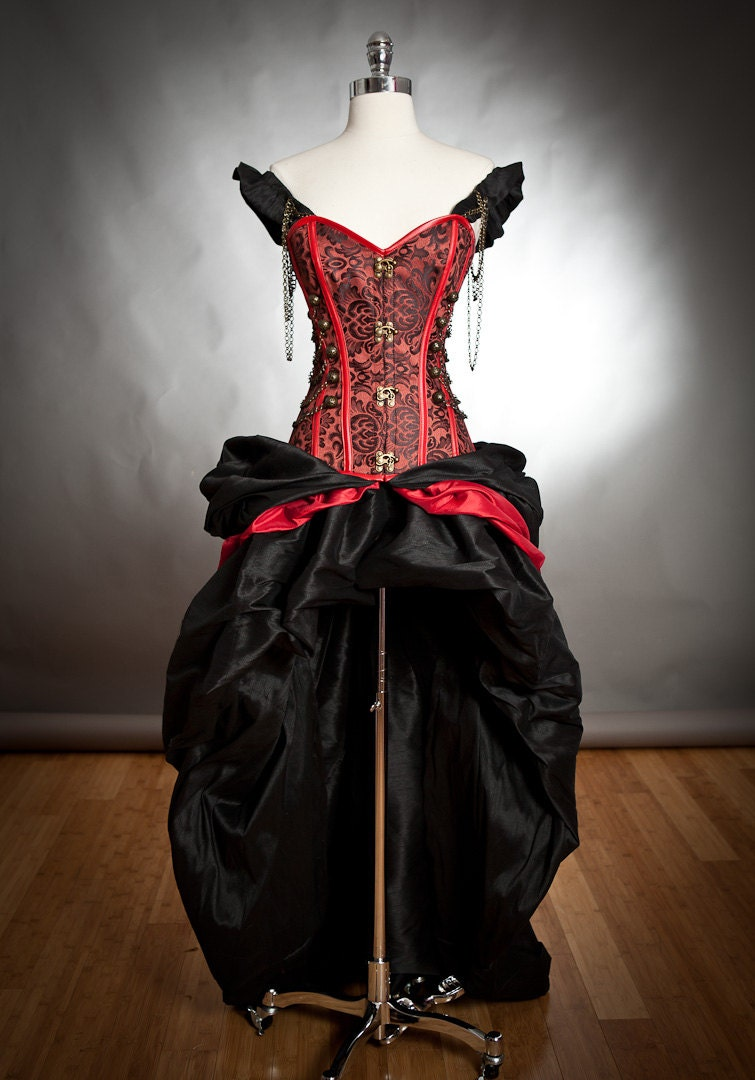 Custom size black and red steampunk burlesque corset with for Steampunk corset wedding dress