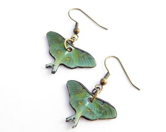 Luna Moth Moon Female Moth Nighttime Angel Dangle Earring