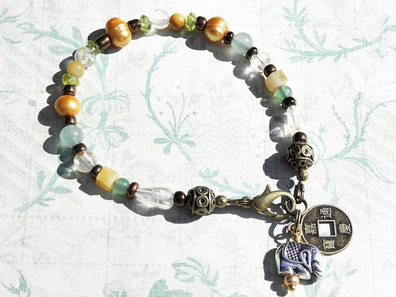 Lakshmi Prosperity Gemstone Beaded Bracelet with Citrine, Peridot, Yellow Jade, Pearl, & Green Aventurine