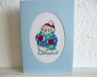 Snowman Card or Wall Hanging Very Fine Cross Stich Embroidery Handmade
