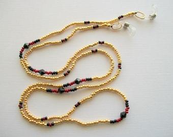 Golden Eyeglass Necklace Beaded Holder with Black Swarovski Bicone Crystals