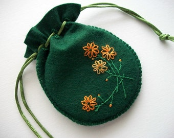 Green Gift Bag Felt Compact Pouch with Hand Embroidered Flowers Handsewn One of a Kind