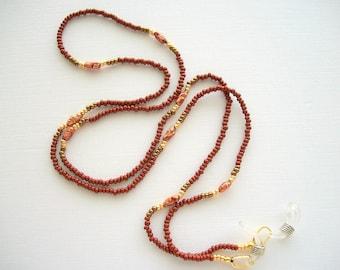 Brown Eyeglass Holder Beaded Lanyard with Vintage Biwa Fresh Water Pearls
