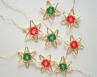 Golden Star Ornaments Hand Beaded Tree Decoration Set of 8 pieces