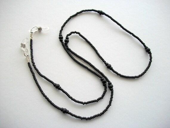 Black Eyeglass Holder Beaded Necklace or Minimalist Lanyard