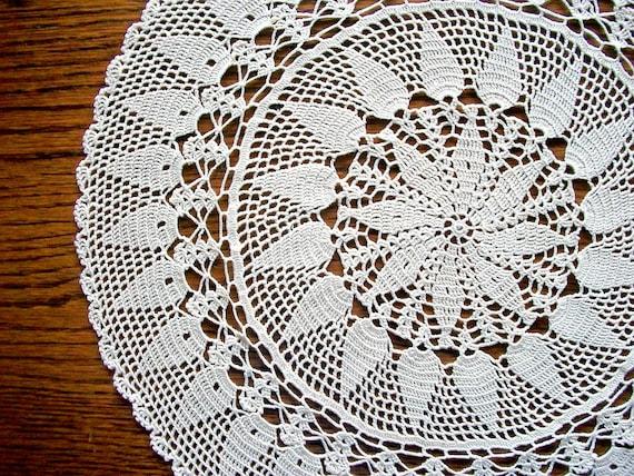 Ecru Crochet Doily Cotton Lace Center Piece Heirloom Quality