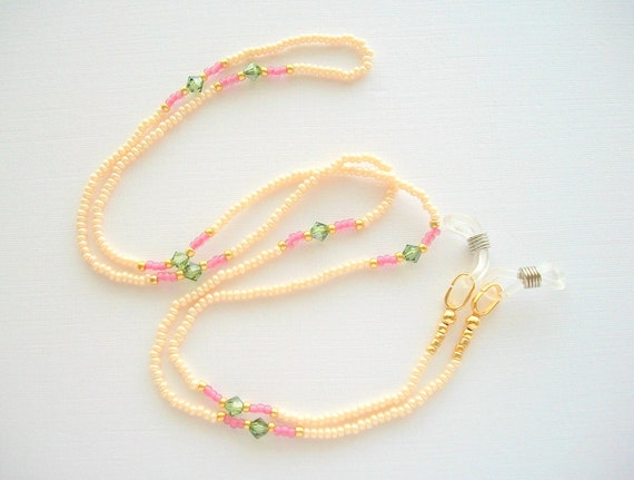 Eyeglass Lanyard Beaded Necklace Champagne White Seed Beads with Peridot Green Satin Swarovski Crystals