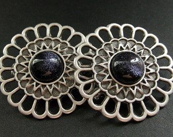 Two (2) Viking Shoulder Brooches. Apron Pins. Navy Blue Sunstone and Aged Silver Viking Brooches. Handmade Historical Reenactment Jewelry.