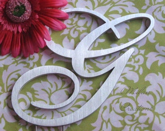 Metallic Silver Metal Monogram Cake Topper for Wedding Cake with Initials