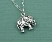 Lucky Elephant  Necklace - sterling silver necklace - hindu jewelry - yoga necklace - tibetan elephant