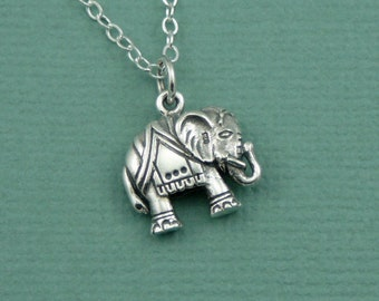 Elephant Necklace - Sterling Silver Elephant Necklace, Elephant Jewelry, Indian Elephant, Yoga Gifts, Yoga Teacher Gift